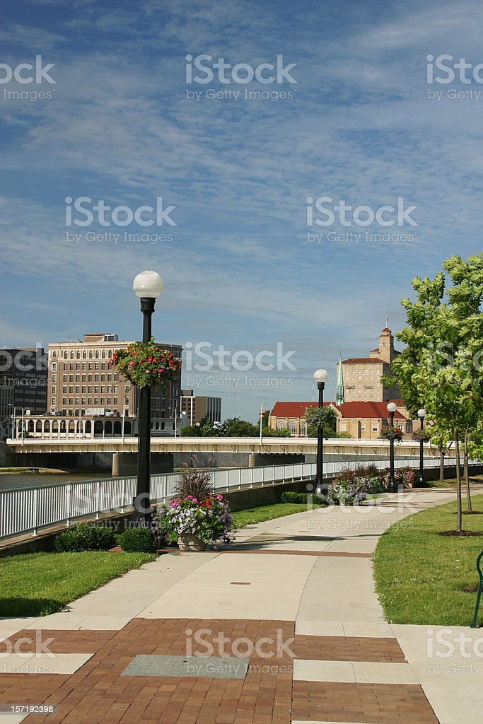 Sidewalk in Park, Dayton, Ohio Skyline royalty-free stock photo