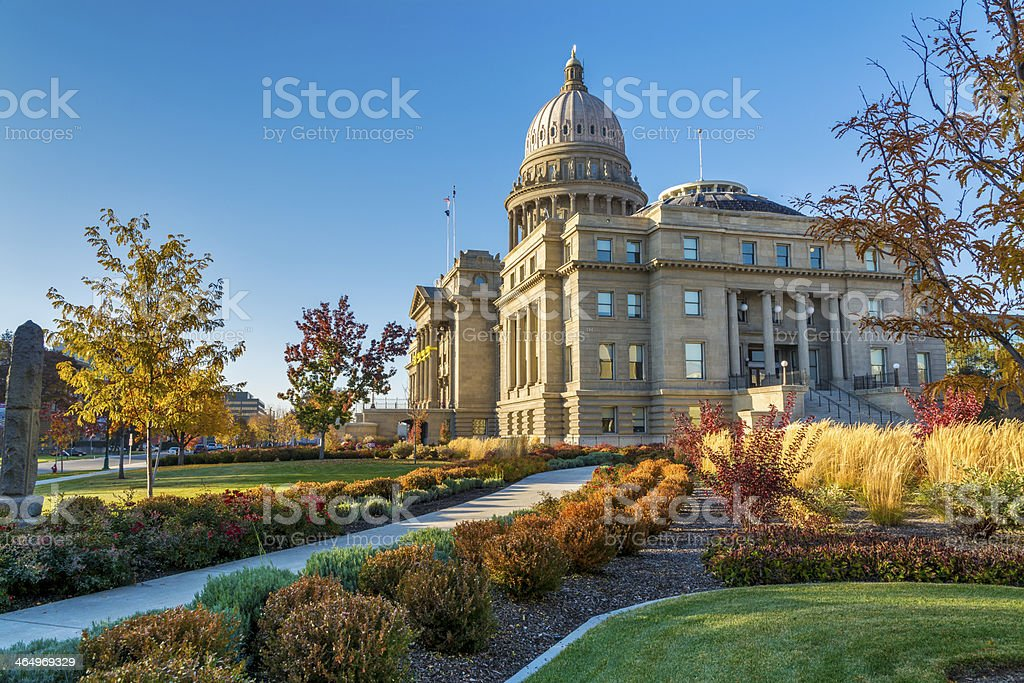 Sidewalk leads to the Idaho state capital stock photo