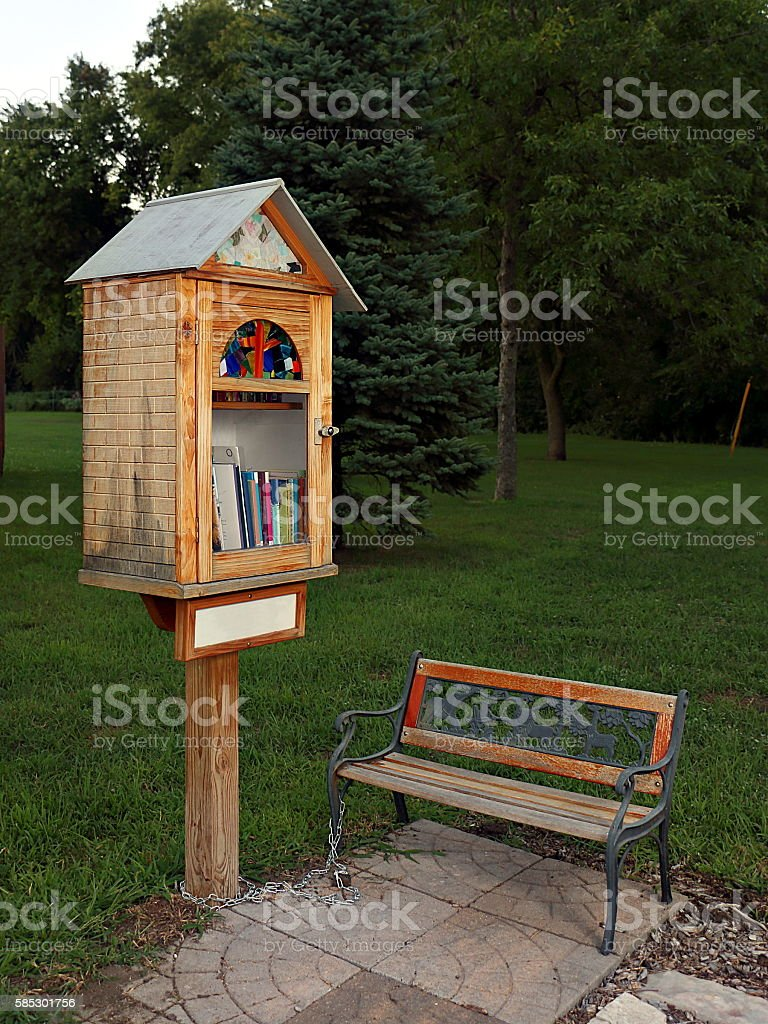 Sidewalk Library in Residential Neighborhood stock photo
