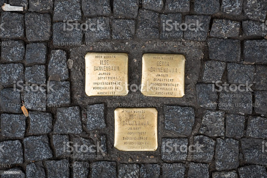 Sidewalk memorial plaques in Berlin stock photo