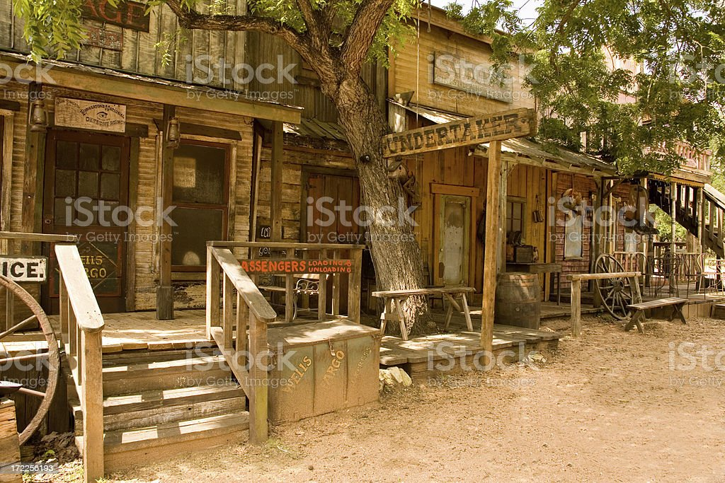 Sidewalk of Wild West Town stock photo