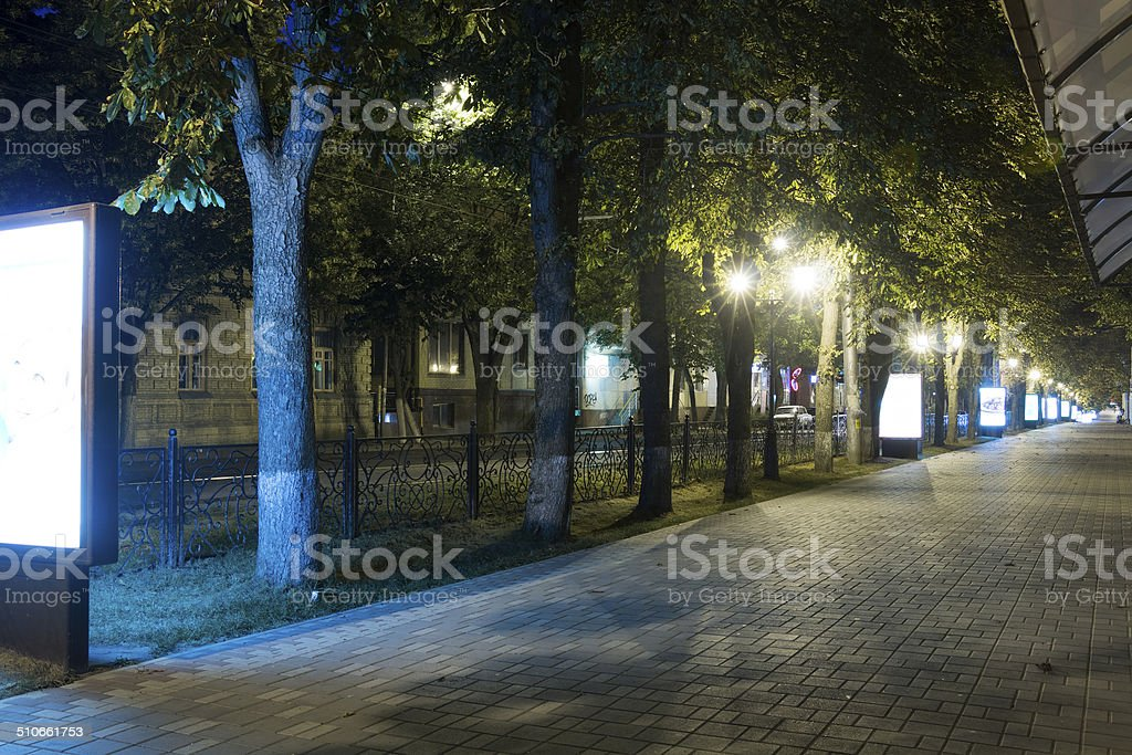 Sidewalk on the prospectus of Kirov (Pyatigorsk, Russia) at night stock photo