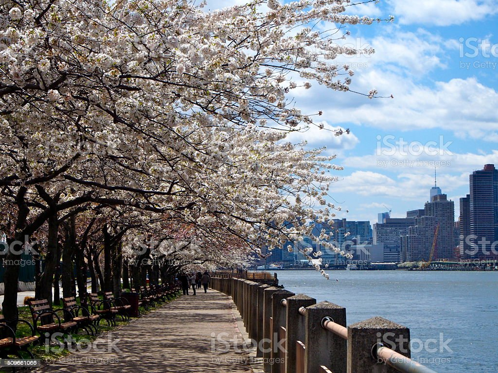 Sidewalk Roosevelt Island in New York stock photo