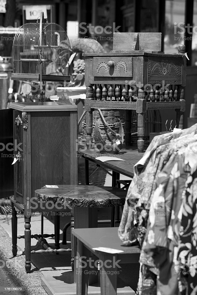 Sidewalk sale black and white royalty-free stock photo