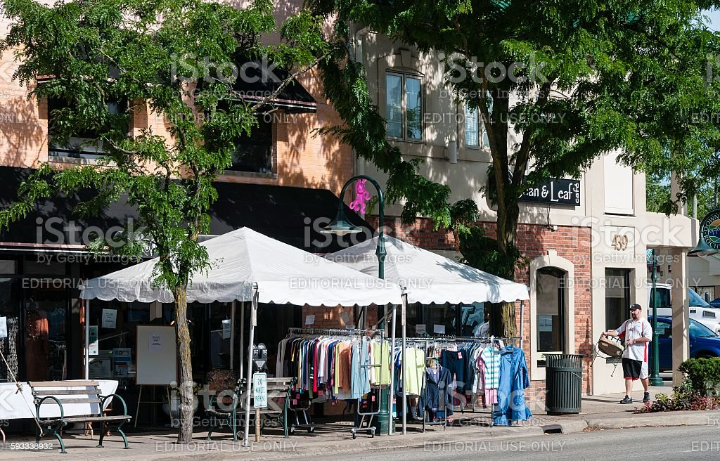Sidewalk Sales, Rochester, Michigan stock photo