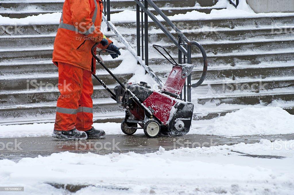 Sidewalk Snow Removal royalty-free stock photo