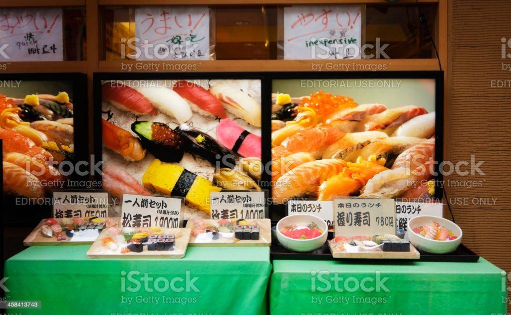 Sidewalk Sushi Display royalty-free stock photo
