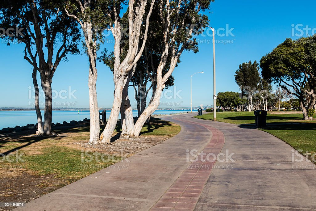 Sidewalk Through Chula Vista Bayfront Park stock photo