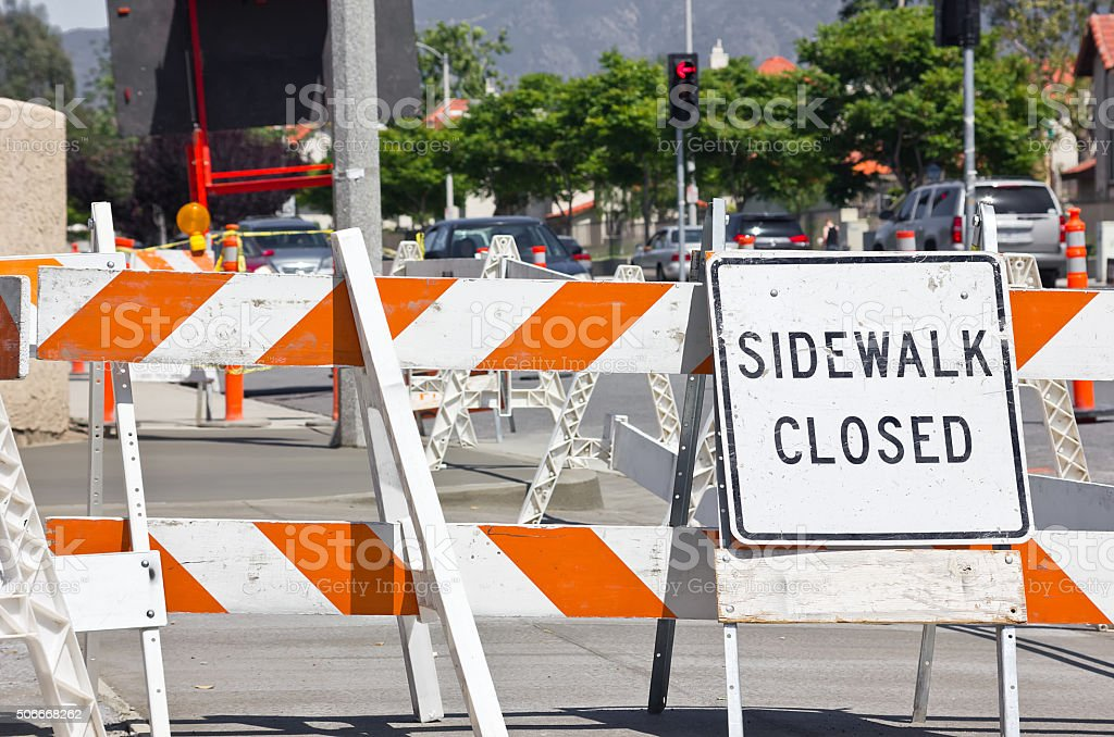 Sidewalk under Construction stock photo
