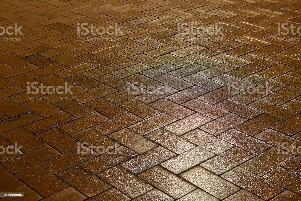 Sidewalk with zig-zag pattern stock photo