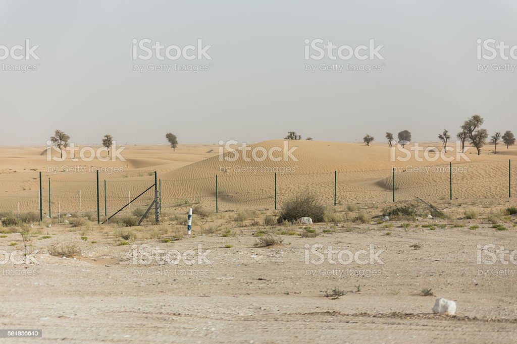 Sideway Desert. Going Outbound to The Great Desert of Dubai stock photo