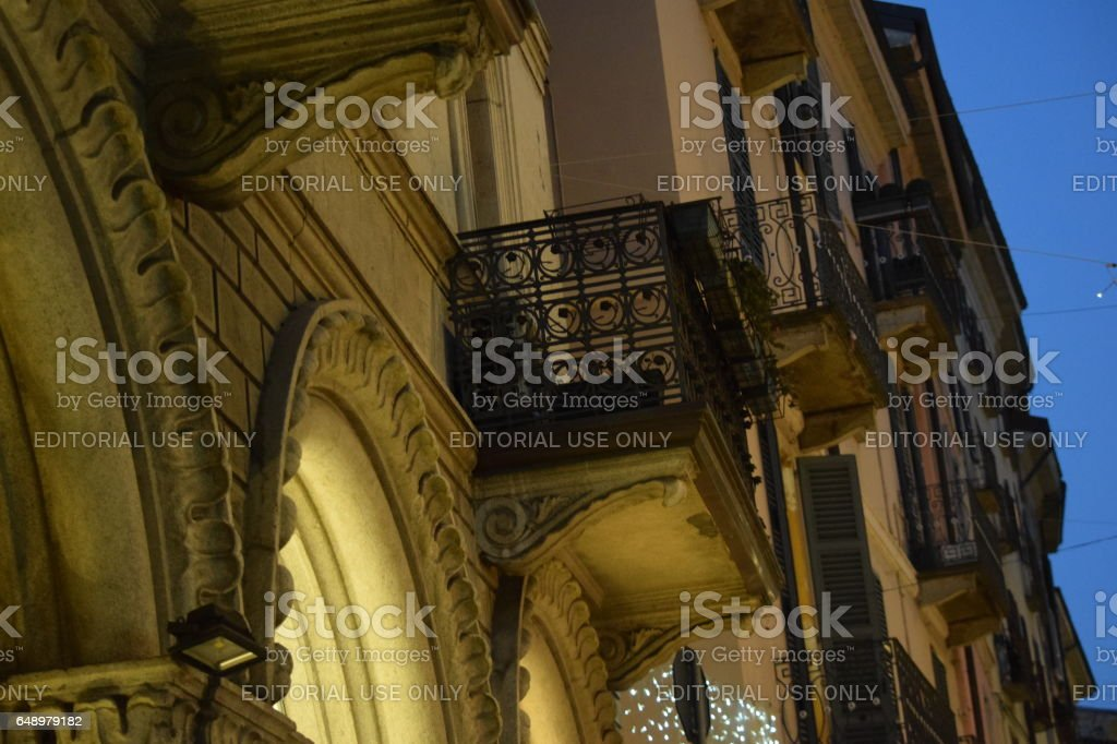 Siding ancient building profille in the evening stock photo