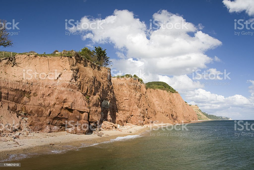 Sidmouth sandstone cliffs on the south coast of Devon royalty-free stock photo
