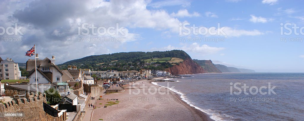 Sidmouth Town and Beach in South Devon stock photo
