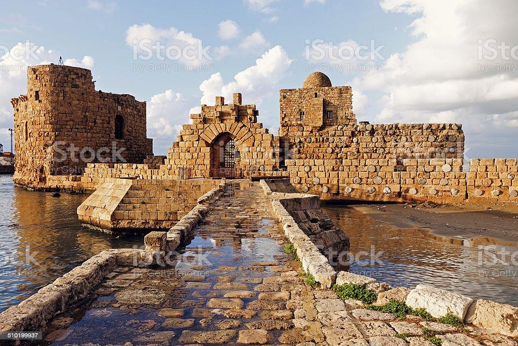 Sidon Sea Castle stock photo