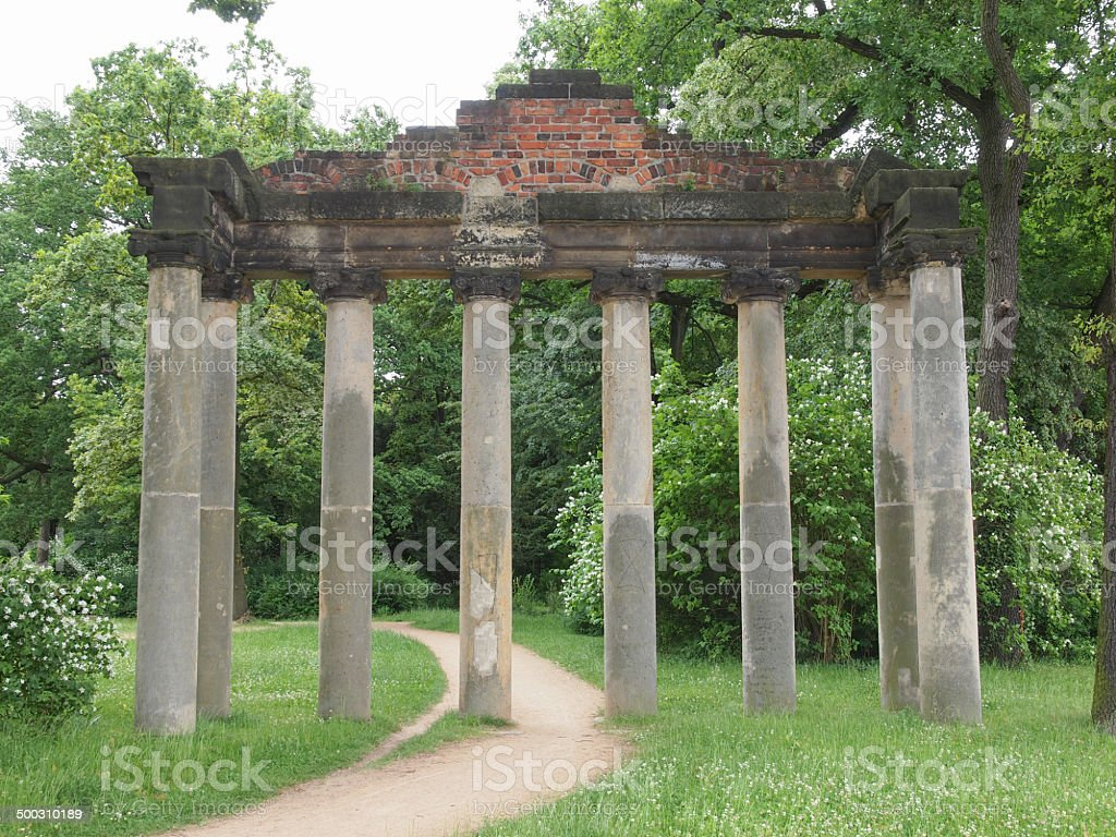 Sieben Saeulen ruins in Dessau Germany stock photo