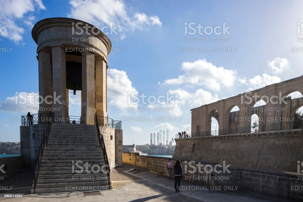 Siege Bell War Memorial, Valletta, Capital City of Malta stock photo