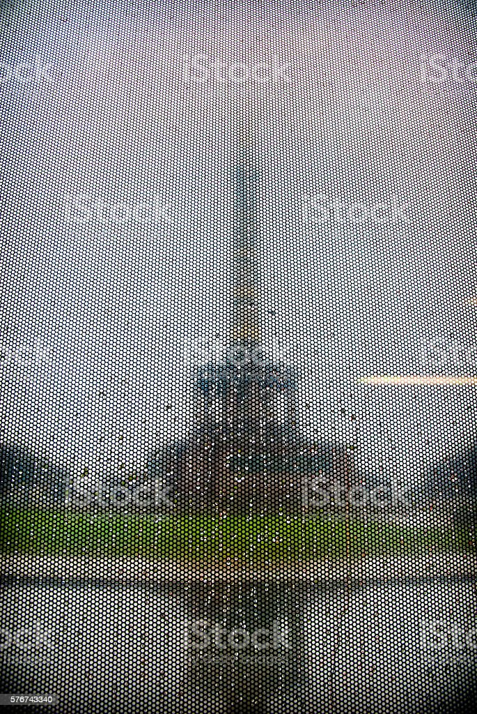 Siegessaule in Berlin, view blurred by rain stock photo