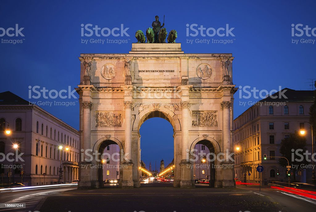 Siegestor triumphal arch in Munich, Germany at night royalty-free stock photo