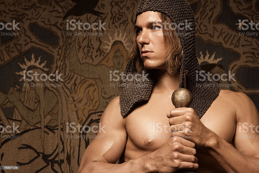 Siegfried with sword stock photo