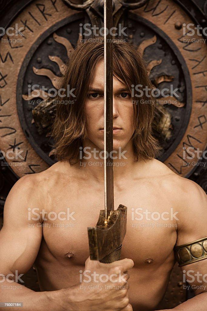Siegfried with sword stock photo