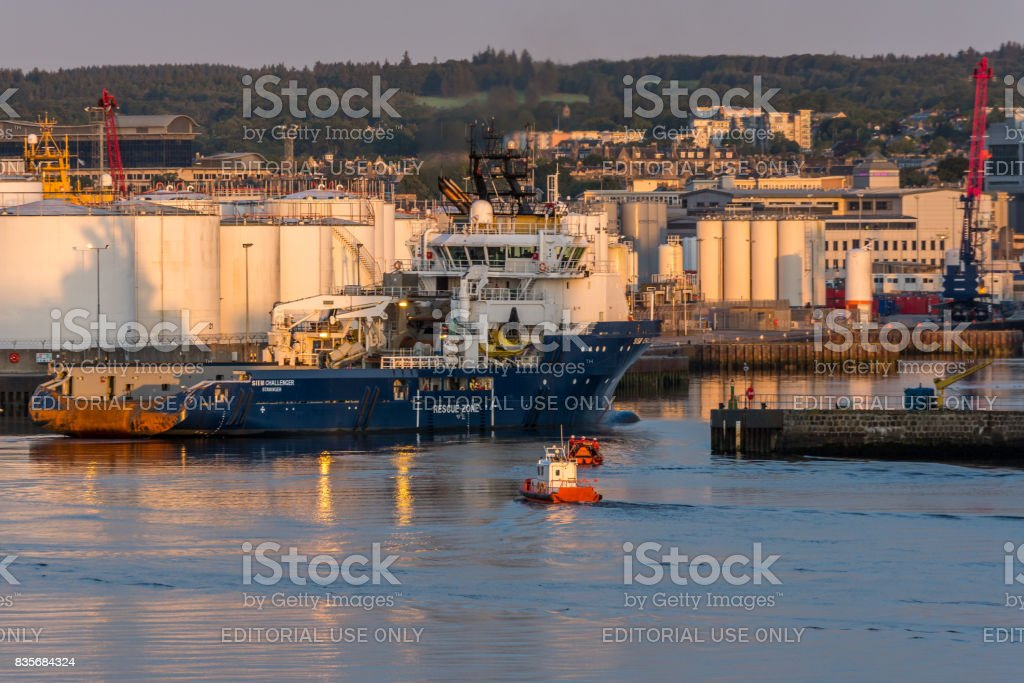 Siem Challenger arrives at Aberdeen harbour. stock photo
