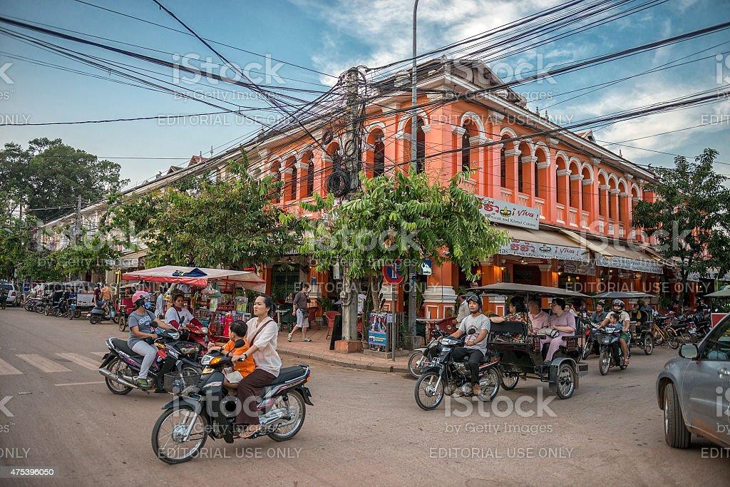 Siem Reap Traffic stock photo