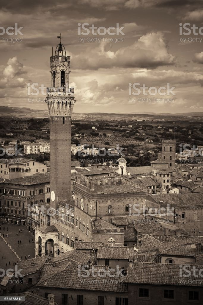 Siena bell tower stock photo