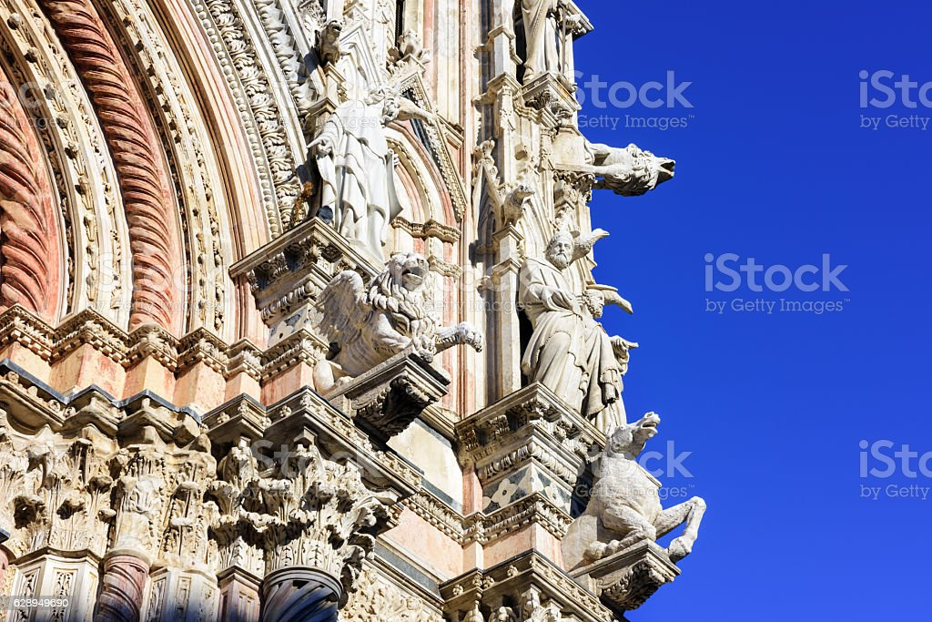 Siena Cathedral, ornate architectural detail stock photo