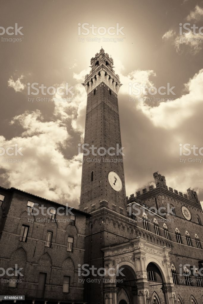 Siena City Hall Bell Tower stock photo