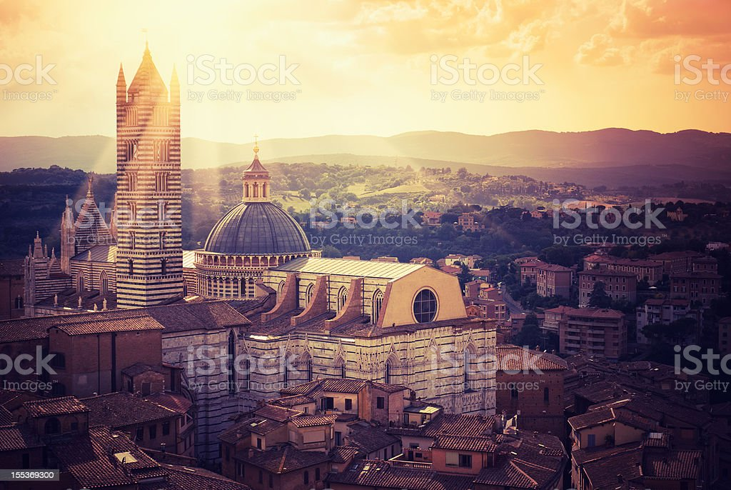 Siena city panorama and old church from aerial view royalty-free stock photo