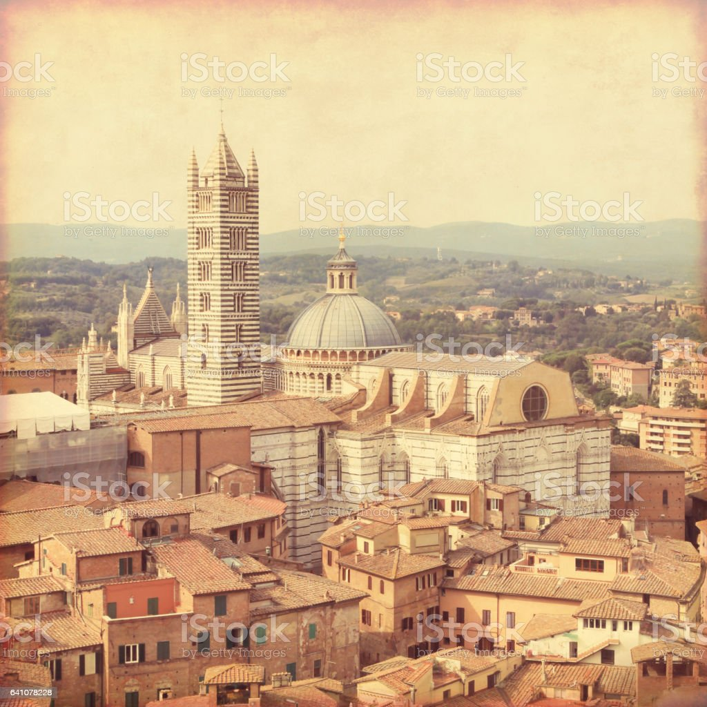 Siena in Tuscany. Old style photo. stock photo