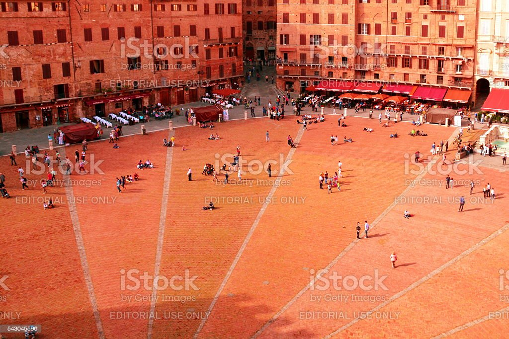 Siena Italy and Il Campo stock photo
