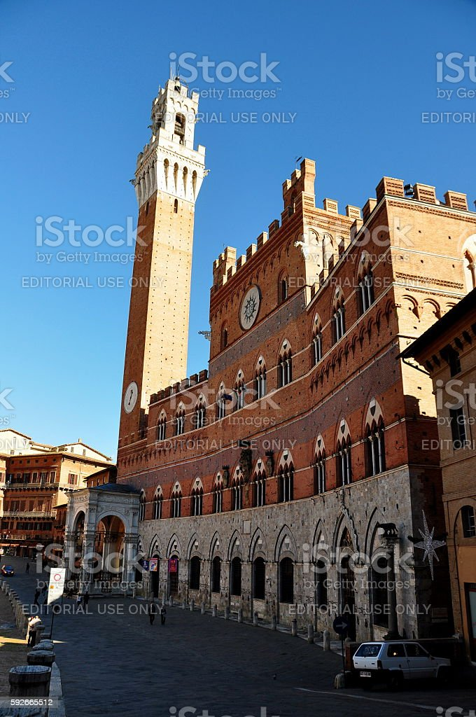 Siena Italy city hall and Il Campo stock photo