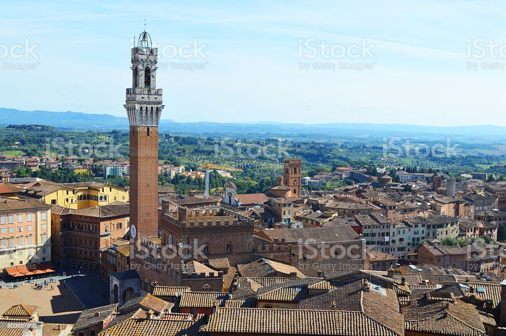 siena landscape with public palace and mangia tower stock photo