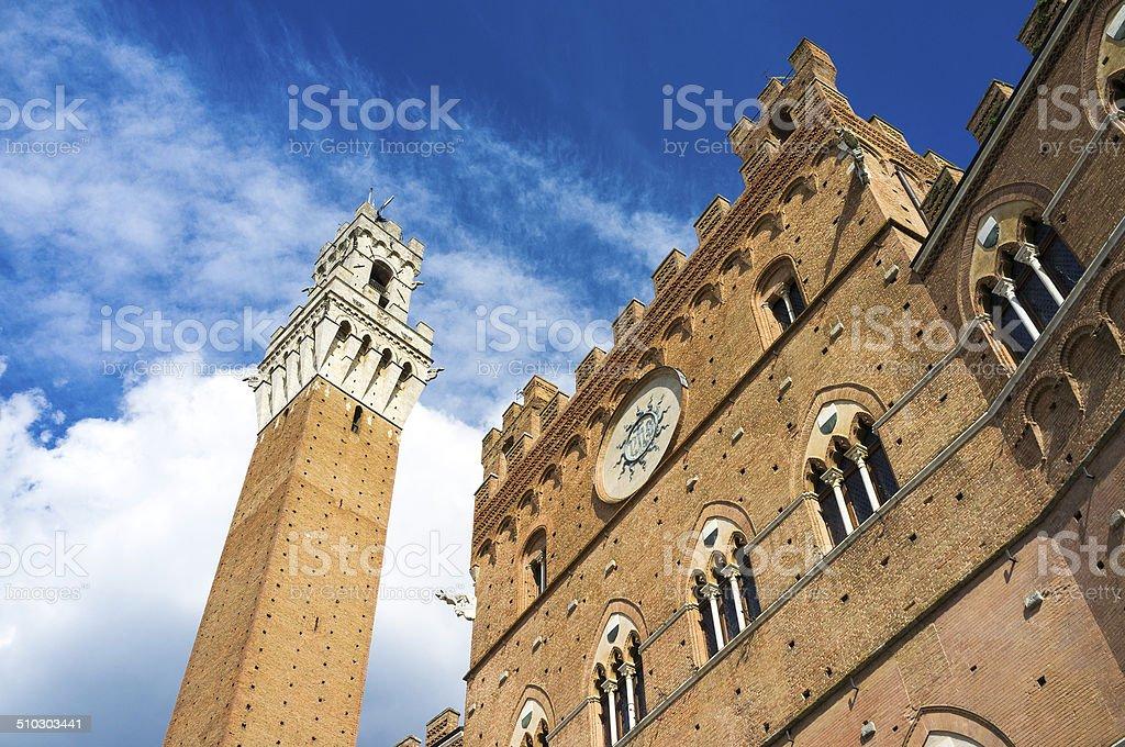 Siena Palazzo Pubblico and Torre del Mangia. Color image stock photo