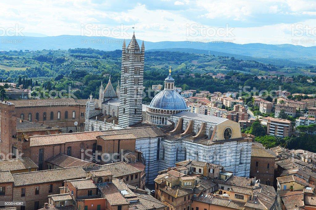 siena panorama con catedral foto de stock libre de derechos