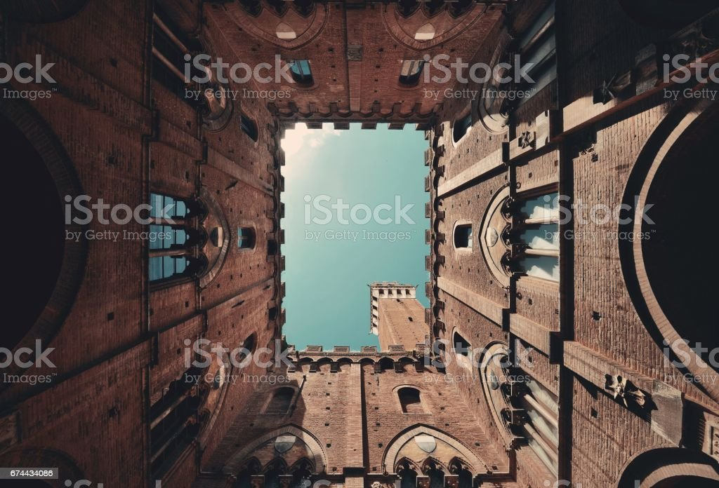 Siena patio Bell Tower stock photo