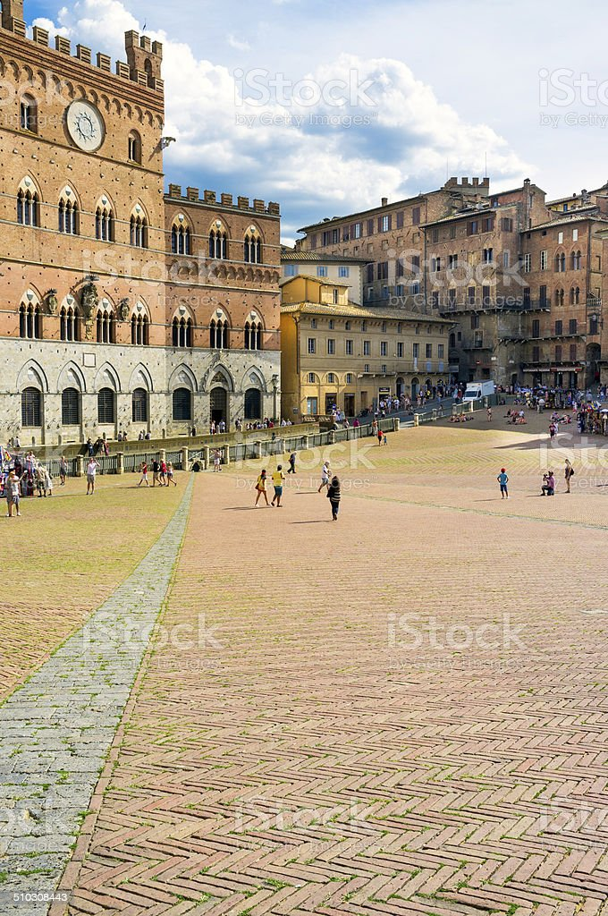 Siena Piazza del Campo. Color image stock photo