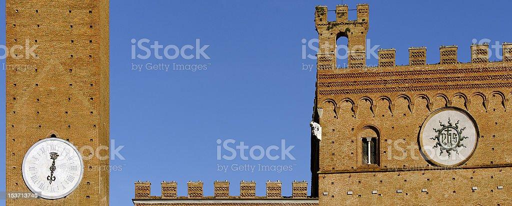 Siena Piazza del Campo cut-out of Palazzo Pubblico Torre Mangia stock photo