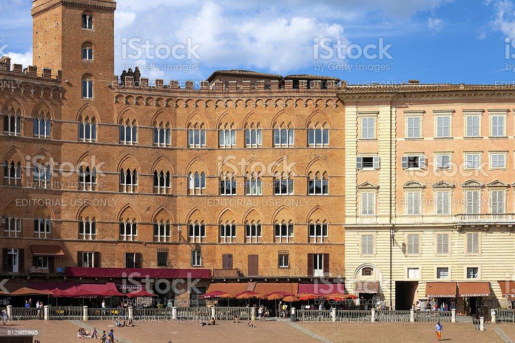 Siena Piazza del Campo medieval building facade. Color image stock photo