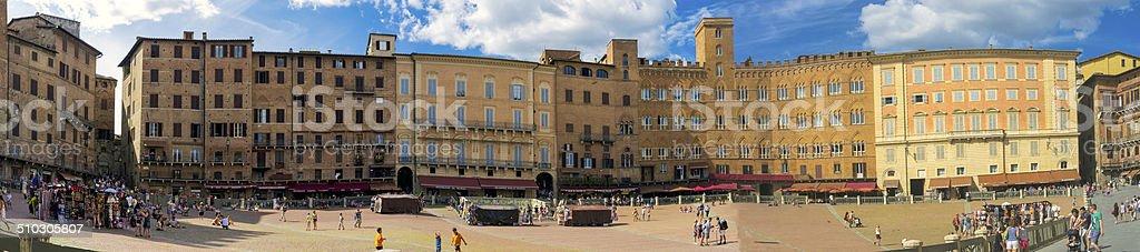 Siena Piazza del Campo panorama. Color image stock photo