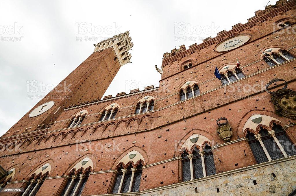 Siena Piazza del Campo Torre del Mangia in public area stock photo
