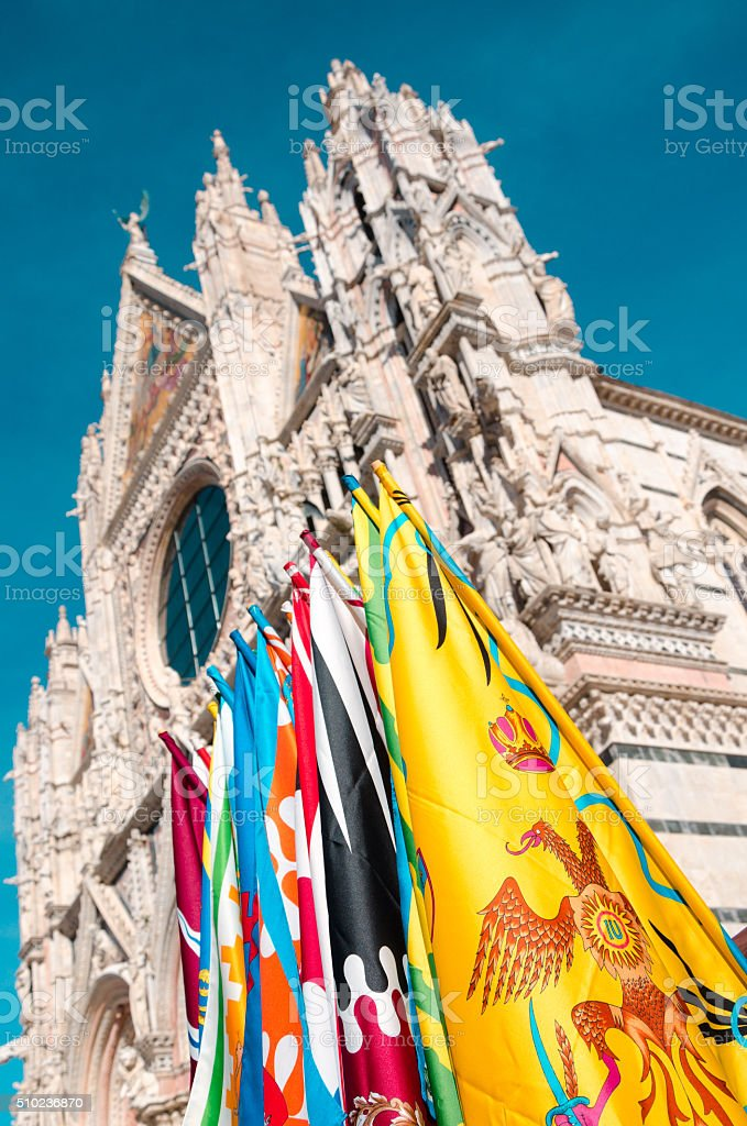 Siena symbols - Duomo and districts' flags stock photo