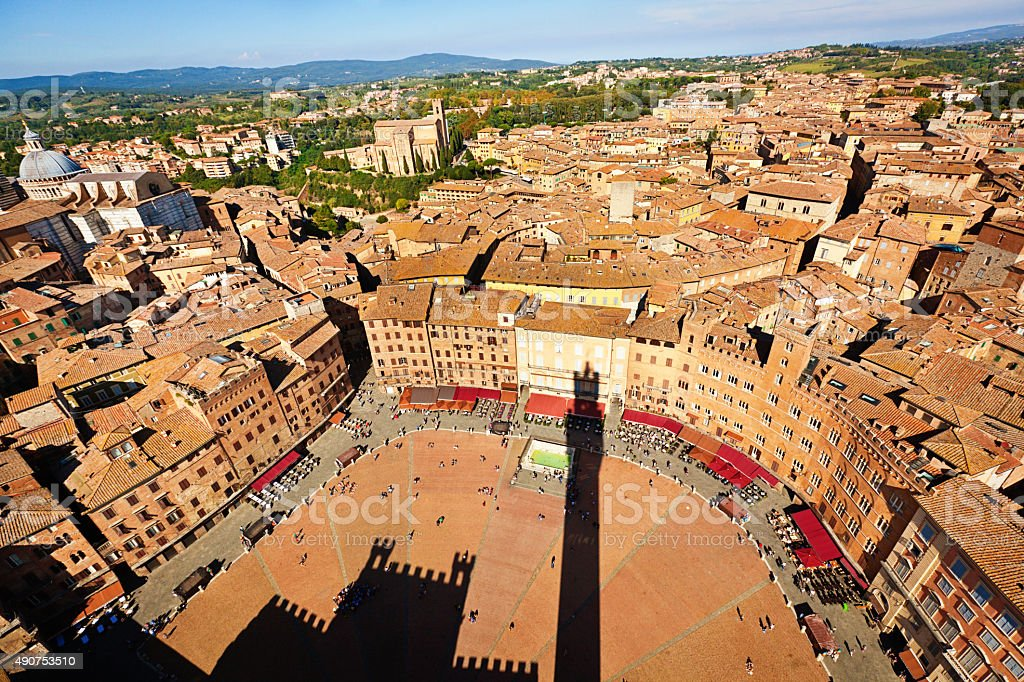 Siena Tuscany with Piazza del Campo and skyline stock photo