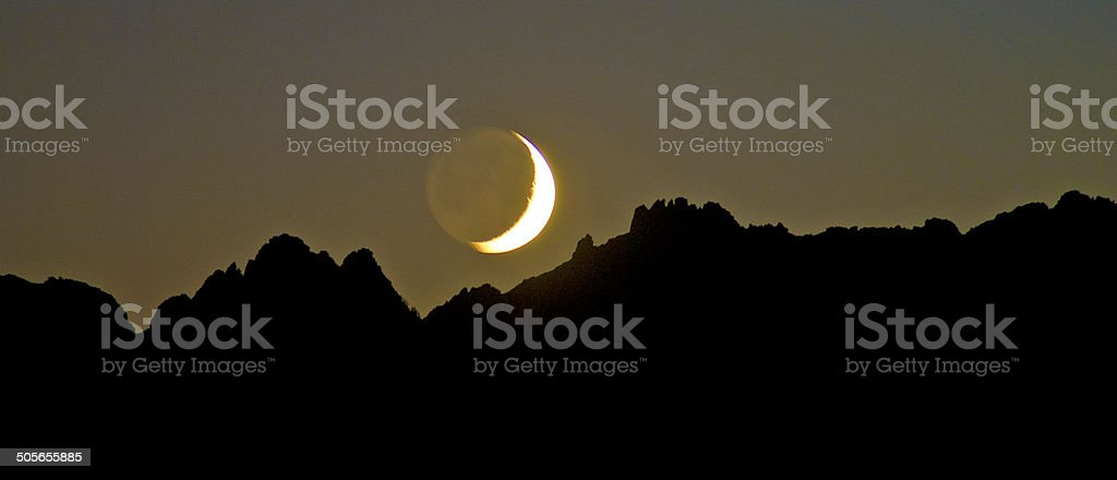 Sierra Crest Moon stock photo