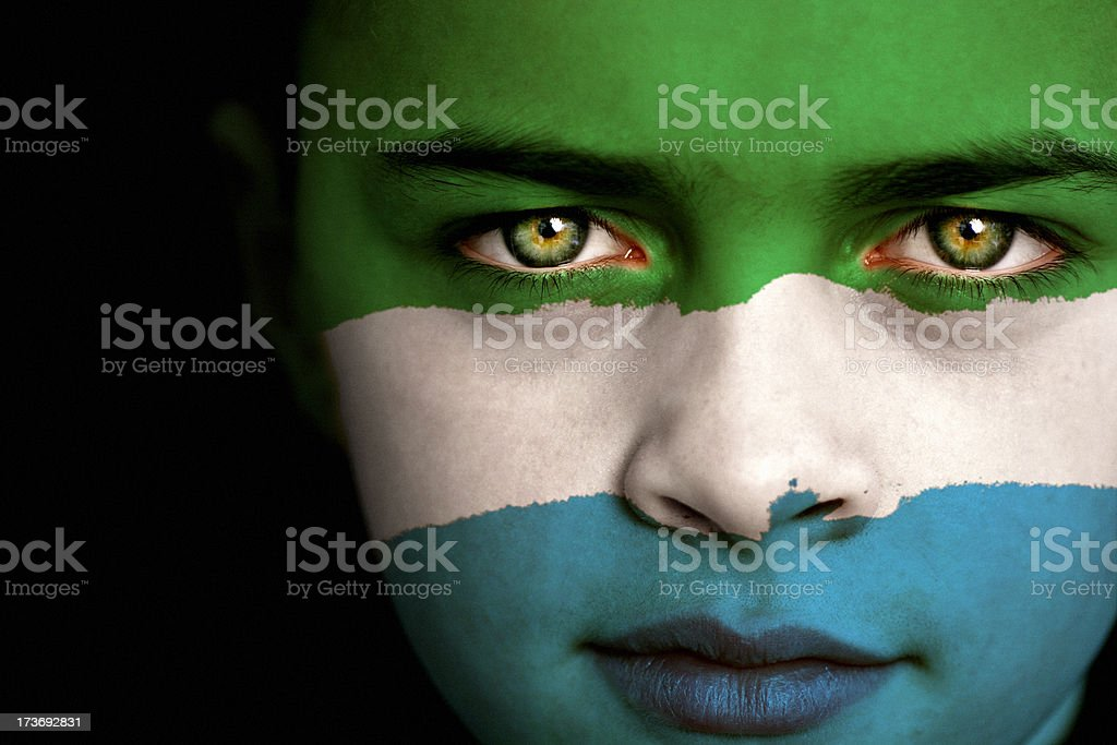 Sierra Leone flag boy stock photo