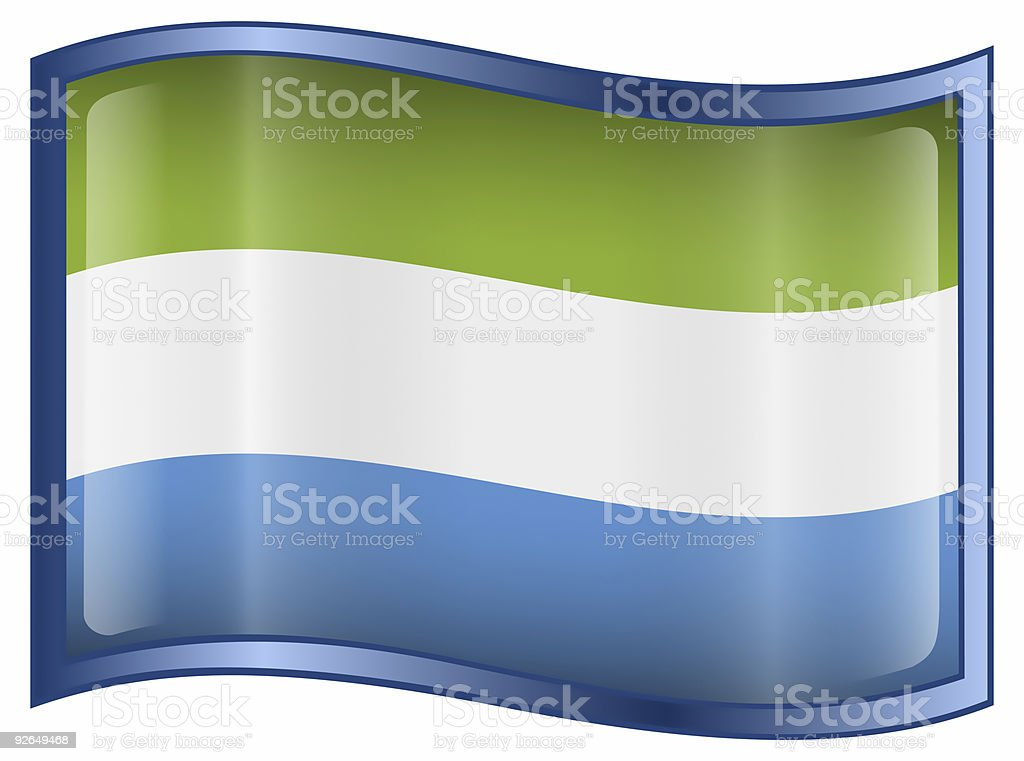 Sierra Leone Flag icon, isolated on white background. stock photo