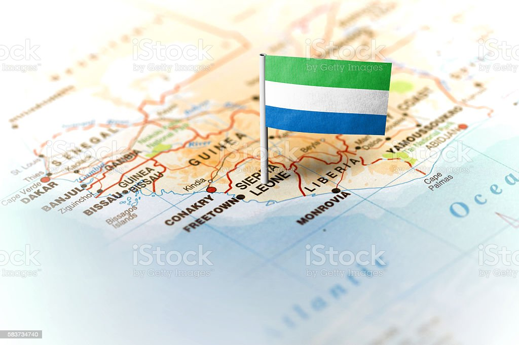 Sierra Leone pinned on the map with flag stock photo