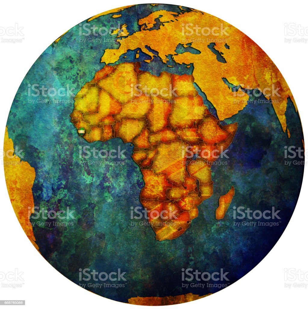 sierra leone territory with flag on map of globe stock photo